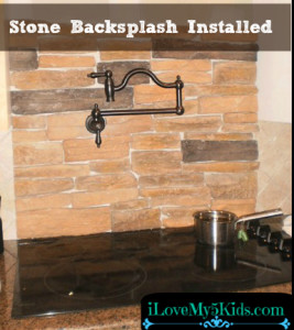 Stone Backsplash Installed