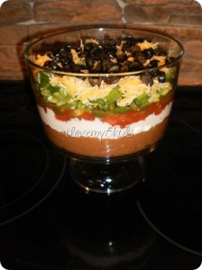 Mexican Dip in Trifle Bowl